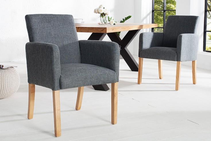 Design Armlehnen Stuhl VALENTINO grau Massivholzbeine aus Eiche