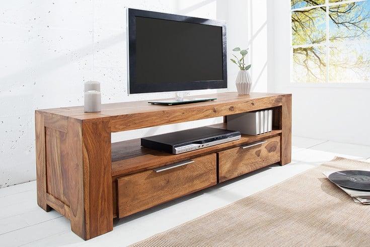 Massives TV-Board MAKASSAR 130cm Lowboard zwei Schubladen aus Sheesham einzigartige Maserung