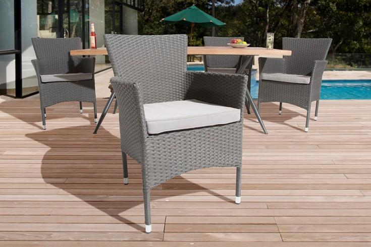 moderner gartenstuhl nizza stapelsessel rattan grau brushed wetterfest riess. Black Bedroom Furniture Sets. Home Design Ideas