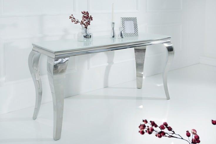 Eleganter Design Konsolentisch MODERN BAROCK 140cm weiß Edelstahl Opalglas Tischplatte