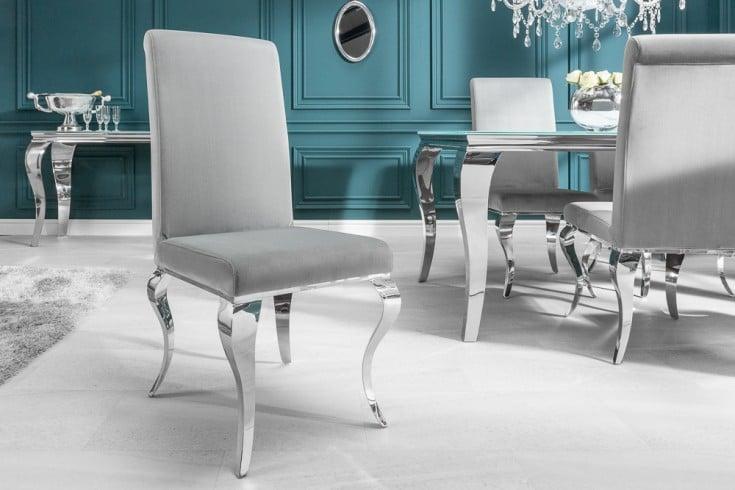 Eleganter Stuhl MODERN BAROCK edel-grau Samt Stuhlbeine aus Edelstahl