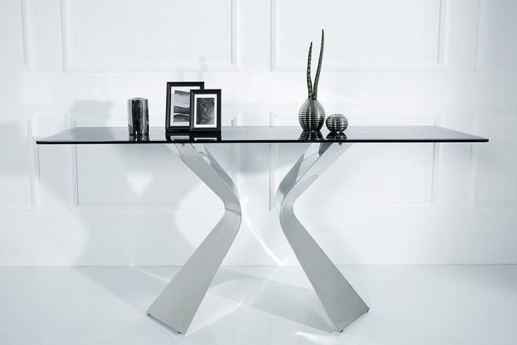 Stylischer Konsolentisch NEO BAROCK 160cm schwarzes Opalglas Edelstahl
