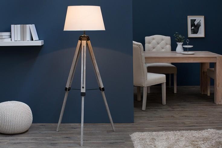 Höhenverstellbare Stehlampe SYLT 143cm beige grau Massivholz mit Leinenschirm