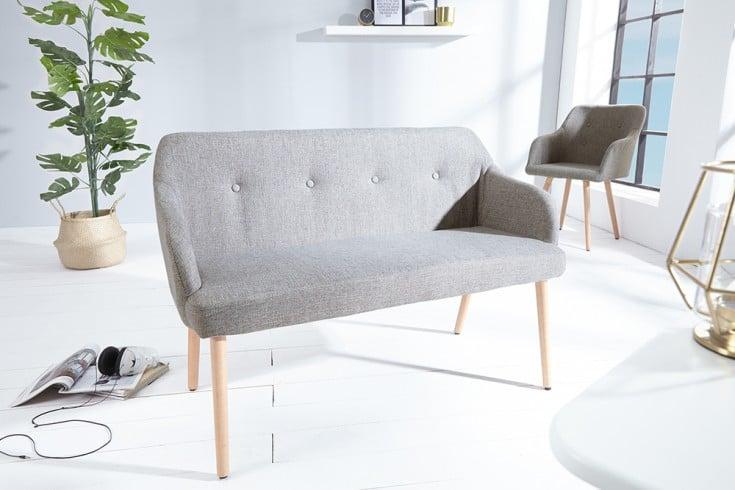 Exklusive Design Sitzbank SCANDINAVIA MEISTERSTÜCK Buche Gestell hellgrau mit Armlehne im Retro Trend