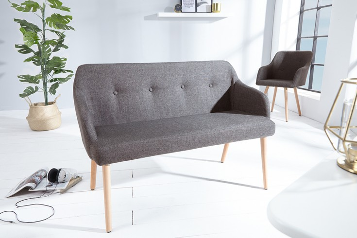Design Sitzbank SCANDINAVIA MEISTERSTÜCK 116cm grau Buchenholz mit Armlehne