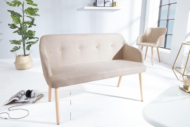 Design Sitzbank SCANDINAVIA MEISTERSTÜCK 116cm beige Buchenholz mit Armlehne