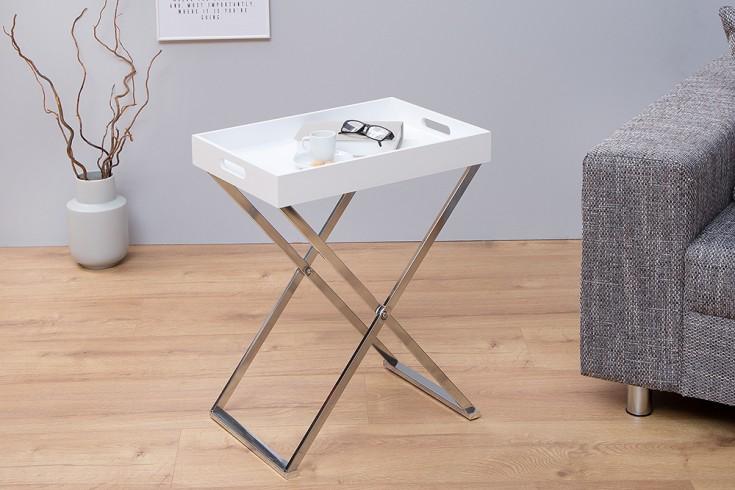 Funktionaler Beistelltisch VALET 48cm weiß chrom Serviertabletttisch klappbar