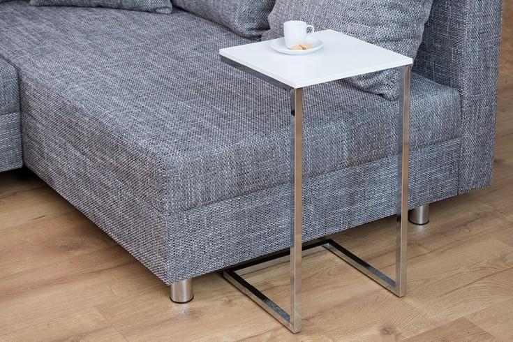 Moderner Design Beistelltisch SIMPLY CLEVER 30cm weiß chrom