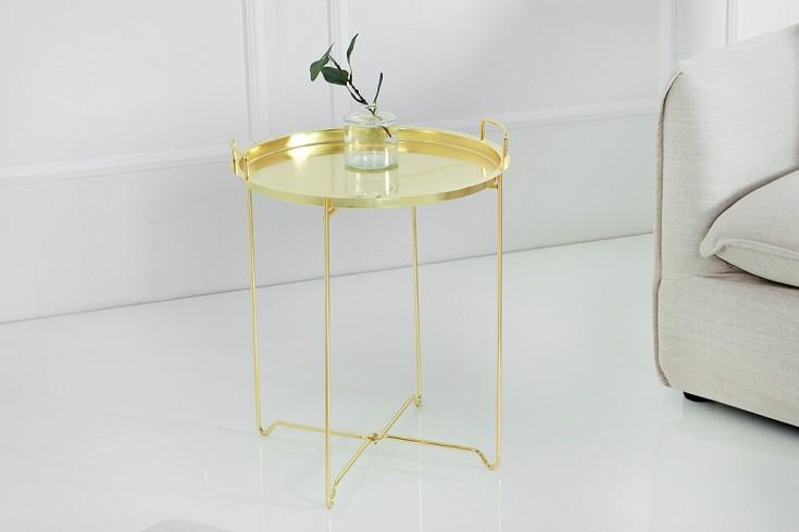 Filigraner Beistelltisch MARRAKESCH 45cm gold Tablett-Tisch Tischplatte abnehmbar