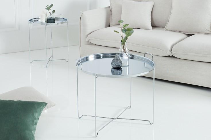 Filigraner Couchtisch MARRAKESCH 56cm silber Tablett-Tisch Tischplatte abnehmbar