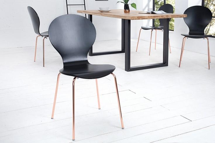 Design Stuhl FORM Designklassiker aus hochwertigem Formholz schwarz kupfer stapelbar