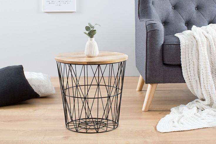 Design Beistelltisch STORAGE 42cm schwarz Mangoholz Aufbewahrungskorb Couchtisch