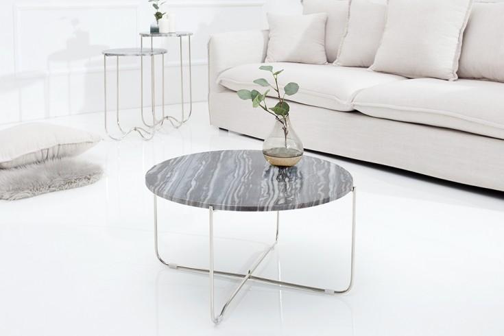Exklusiver Couchtisch NOBLE 62cm aus hochwertig verarbeitetem grauem Marmor