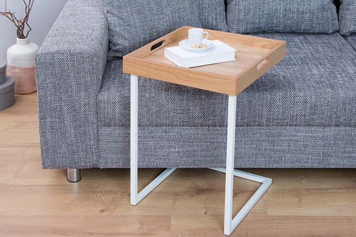 design beistelltisch eiche wei riess. Black Bedroom Furniture Sets. Home Design Ideas