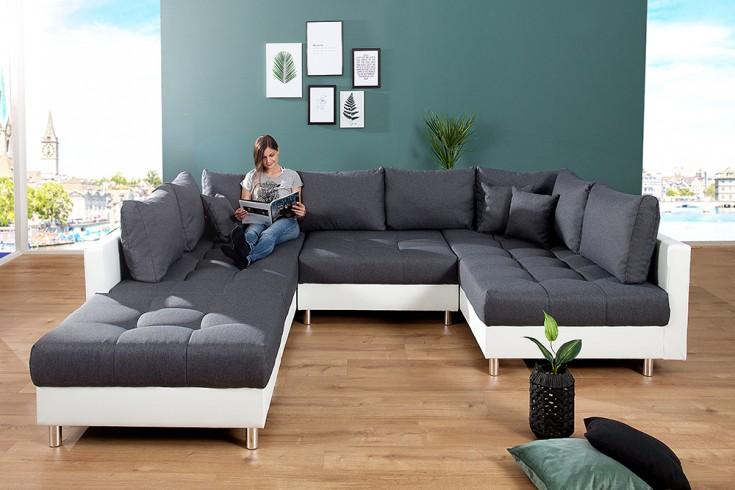 moderne xxl wohnlandschaft kent 305cm anthrazit wei federkern inkl hocker und kissen riess. Black Bedroom Furniture Sets. Home Design Ideas