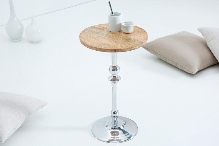 Eleganter Beistelltisch JARDIN 30cm silber mit Mango Tischplatte orientalisch