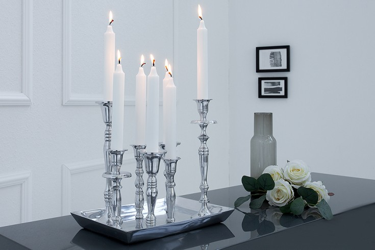 Design Kerzenständer 7-flammig Metall poliert Kerzenhalter