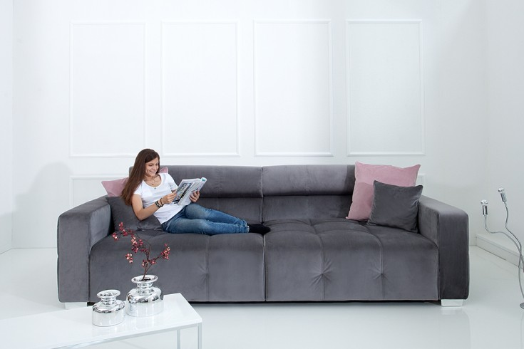 big sofa 290cm grau inkl kissen riess. Black Bedroom Furniture Sets. Home Design Ideas