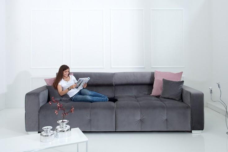 Elegantes Big Sofa HERITAGE grau inkl. Kissen und verstellbaren Kopfstützen