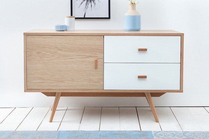 stylisches echt eiche sideboard hygge 110cm skandinavisches design anrichte riess. Black Bedroom Furniture Sets. Home Design Ideas