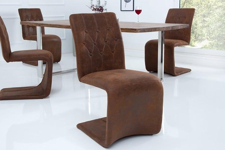 Eleganter Design Freischwinger VICTORIAN Stuhl Vintage braun
