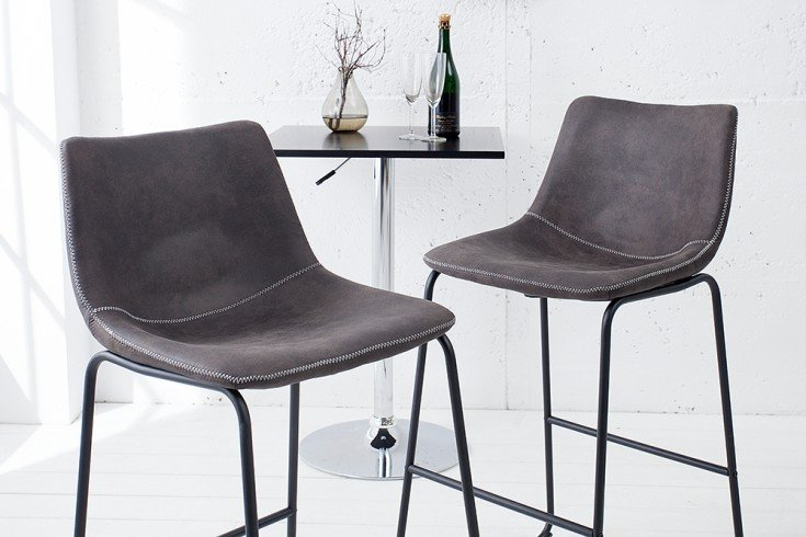 Industrial Design Barstuhl DJANGO vintage grau mit Eisengestell
