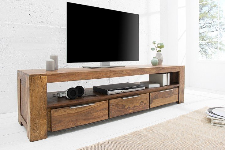 massives tv board makassar 170cm lowboard sheesham mit drei schubladen einzigartige maserung. Black Bedroom Furniture Sets. Home Design Ideas