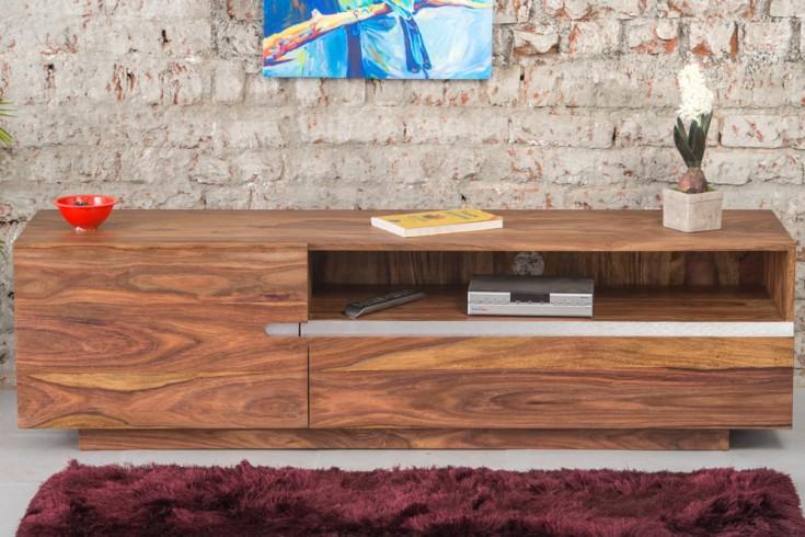 Massives TV Board FIRE & EARTH II 160cm Sheesham-Holz stone finish einzigartige Maserung
