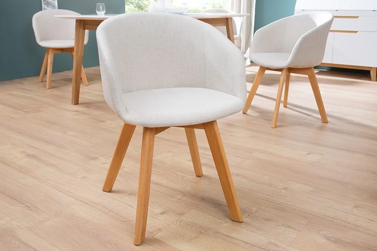 Design Stuhl STOCKHOLM mit Armlehne Strukturstoff beige Buche Gestell