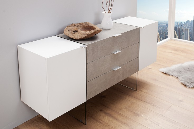 Design Sideboard ONYX edelmatt weiß Beton-Optik 160cm