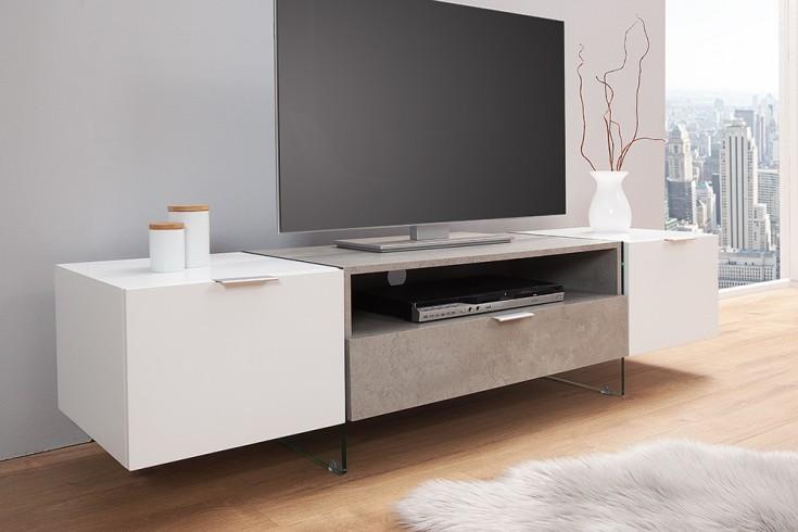 Design TV Lowboard ONYX 160 cm edelmatt weiß Beton-Optik