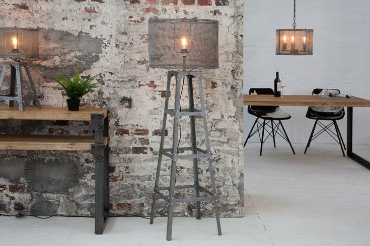 Industrial Design Stehleuchte LOFT 155cm iron grau Stehlampe