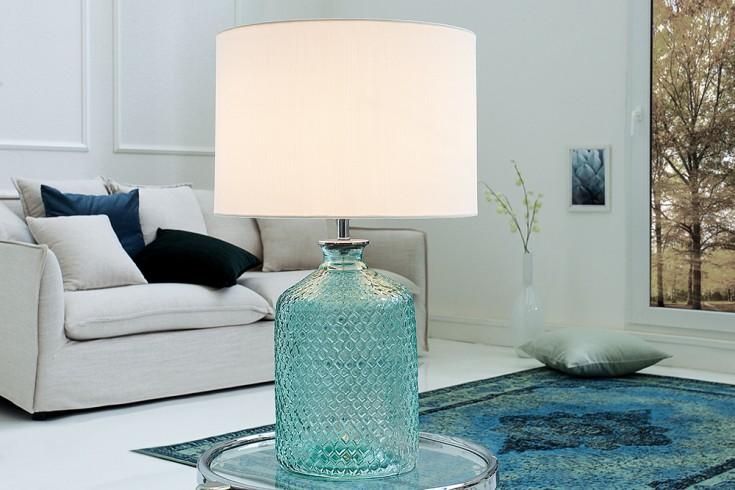 Elegante Tischleuchte CLASSIC recyceltes Glas italienisches Design Leinenschirm