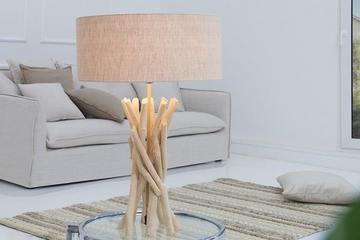 Design Treibholz Tischleuchte CARA sand mit hochwertigem Natur-Leinen Schirm