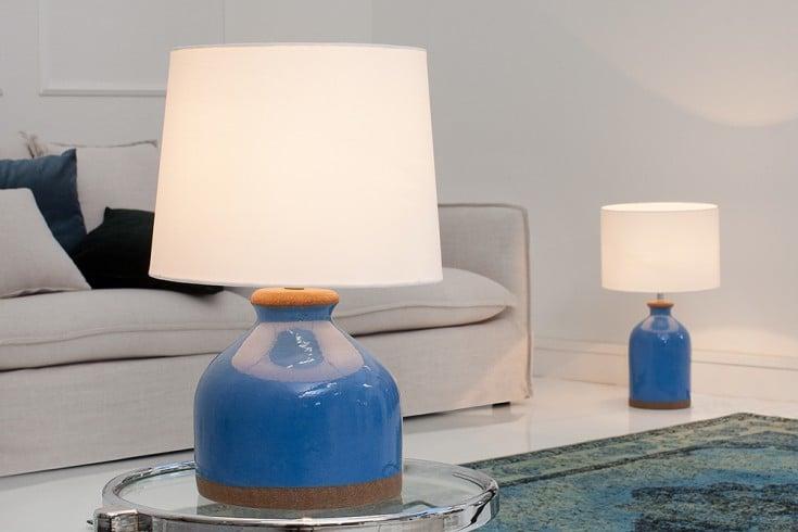 Keramik Tischleuchte BLUE CLASSIC 50 cm im italienischen Design mit Nylon Schirm