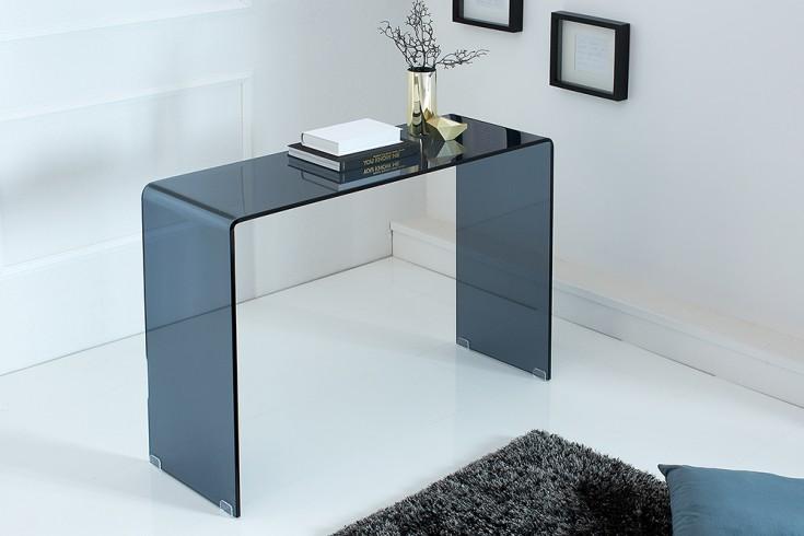 Extravaganter Glas Konsolentisch GHOST 100cm Rauchglas anthrazit Schreibtisch Ganzglastisch