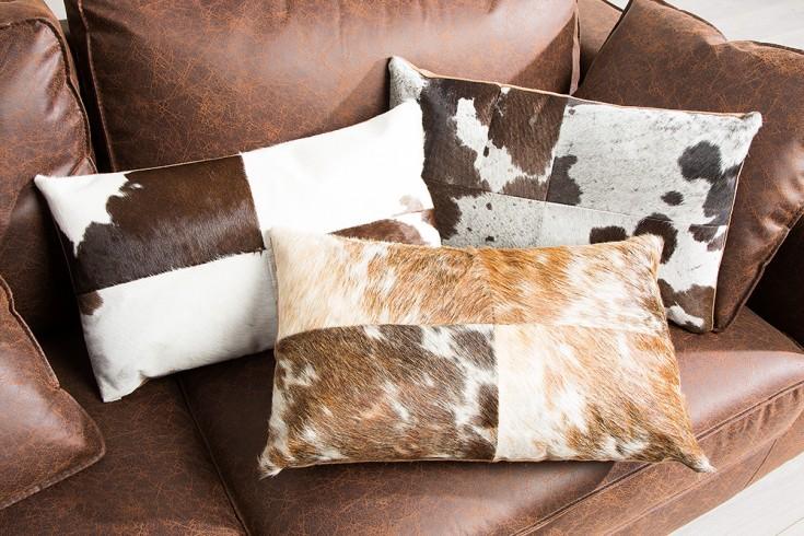 Kultiges Kuhfell Patchwork Kissen RIDER COLLECTION 50x30cm braun weiß rechteckig
