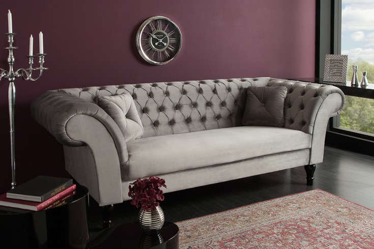 Chesterfield Sofa PARIS 225cm Samt silbergrau mit 2 Kissen