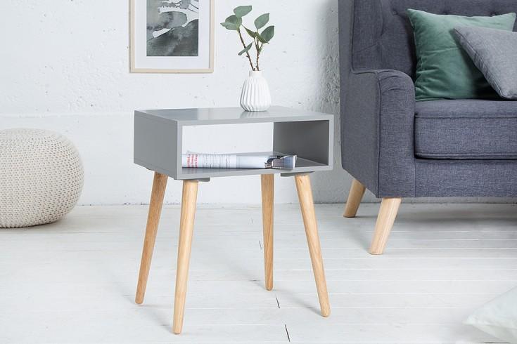 Design Retro Beistelltisch SCANDINAVIA 40cm grau Eiche Nachttisch mit Ablagemöglichkeit