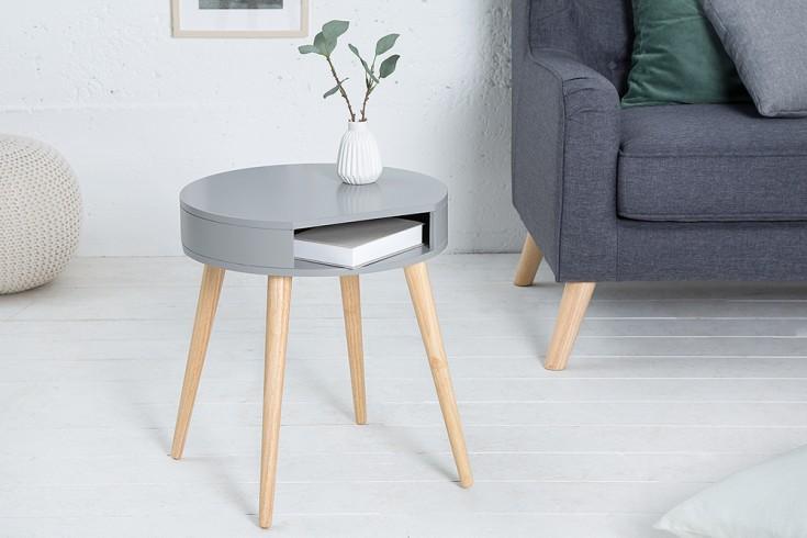 Design Retro Beistelltisch SCANDINAVIA grau Eiche Nachttisch mit Ablagefach
