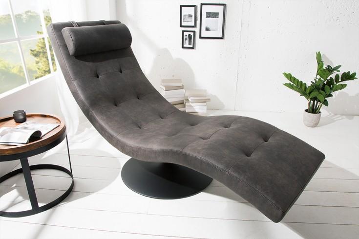 Extravagante Design Liege RELAXO grau mit Steppung Relaxliege