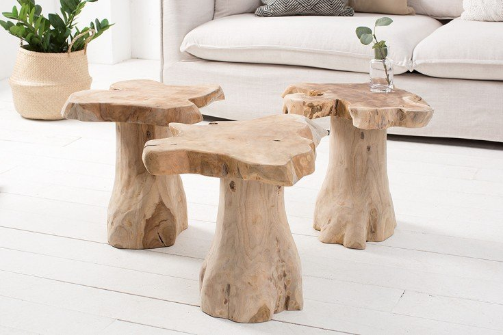 massiver baumstamm couchtisch root 40cm teakholz beistelltisch mit jahresringen riess. Black Bedroom Furniture Sets. Home Design Ideas