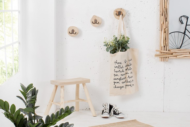 Design Wandgarderobe 3er Set LIMOTION Teak Holz