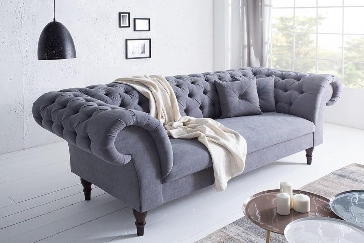 Chesterfield Sofa CONTESSA grau Soft Baumwolle mit 2 Kissen