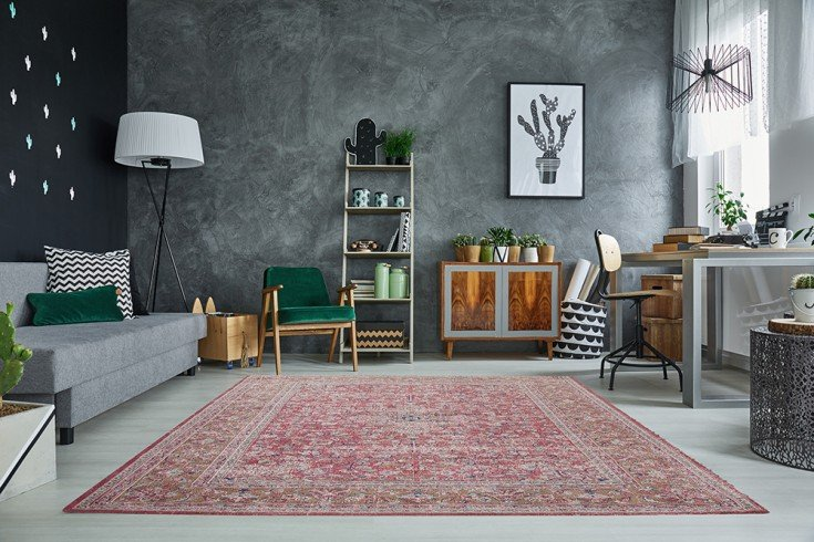 Orientalischer Baumwoll-Teppich OLD MARRAKESCH 240x160cm rot antik florales Muster