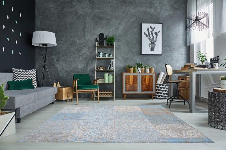 Orientalischer Design Teppich MARRAKESCH 240x160cm hellblau Patchwork Baumwolle