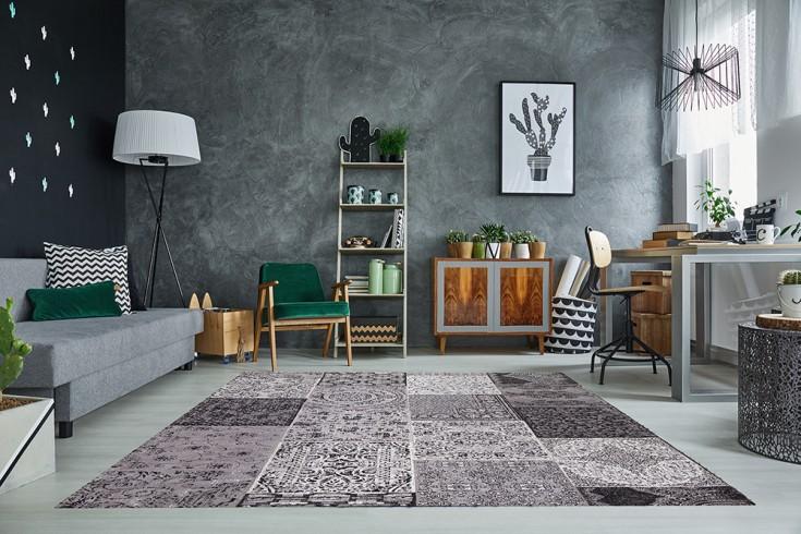 Orientalischer Design Teppich MARRAKESCH 240x160cm anthrazit Patchwork Baumwolle