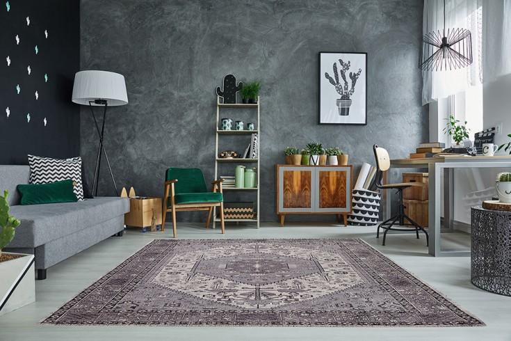 Orientalischer Design Teppich HERIZ 240x160cm grau antik geometrisches Muster Baumwolle
