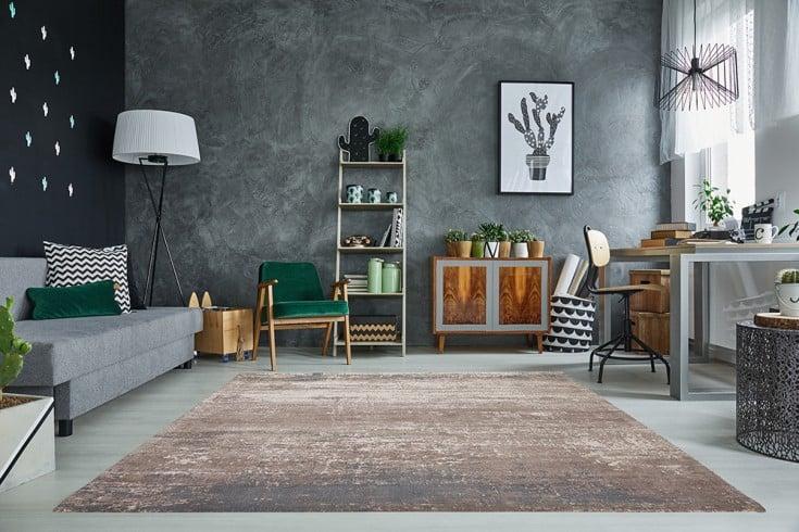 Vintage Baumwoll-Teppich MODERN ART 240x160cm beige grau Used Look