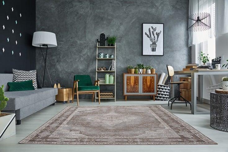 Orientalischer Baumwoll-Teppich LEVANTE 240x160cm hellgrau geometrische Muster